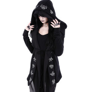 Demon Symbol Oversized Hoodie Cardigan Gothic Dark